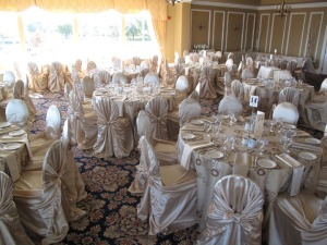 A Gala Decor Wedding with champagne satin pecan swirl linens