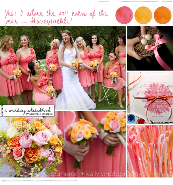 Watermelon Honeysuckle and Tangerine Wedding Colours
