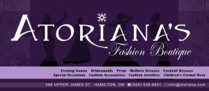 Atoriana's Fashion Boutique is exhibiting in the Hamilton-Halton Fall Wedding Show 2012