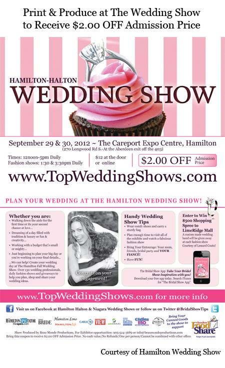 Hamilton-Halton Fall Wedding Show $2.00 OFF Coupon