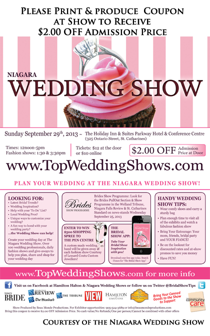 $2.00 OFF coupon for the Niagara Autumn Wedding Show 2013