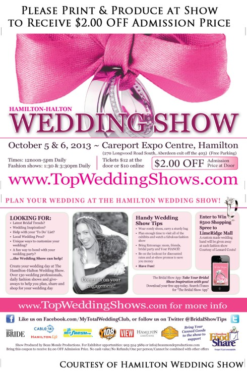 $2.00 OFF Coupon for the Hamilton-Halton Fall Wedding Show